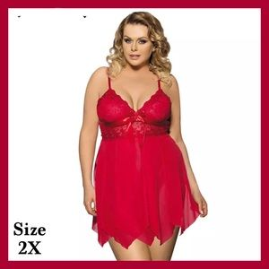 Beautiful Red Baby Doll w/ Panties Lingerie